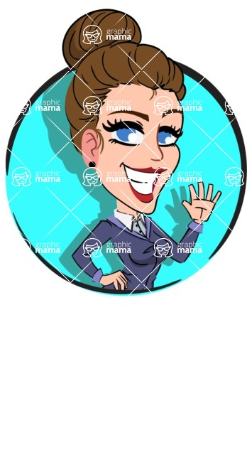 Simple Style cartoon of a Corporate Girl - Shape 2