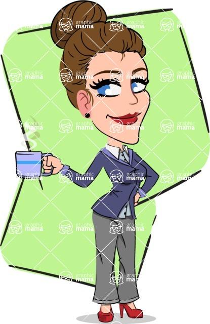 Simple Style cartoon of a Corporate Girl - Shape 5