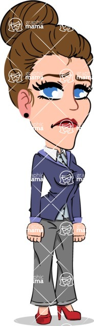 Simple Style cartoon of a Corporate Girl - with Sad face