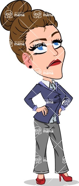 Simple Style cartoon of a Corporate Girl - Rolling Eyes