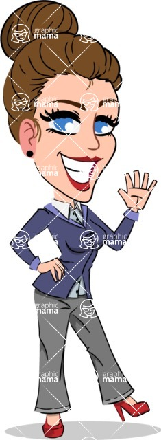 Simple Style cartoon of a Corporate Girl - Waving for Hello with a hand