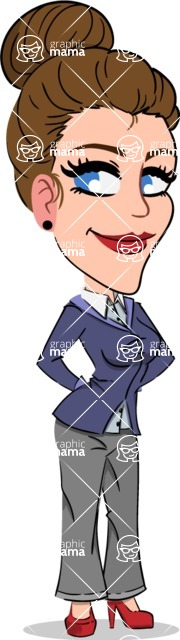 Simple Style cartoon of a Corporate Girl - Waiting with hands behind back