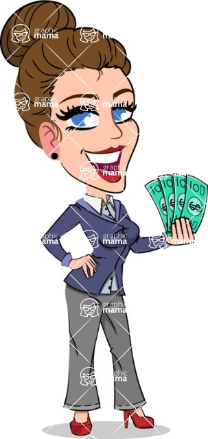 Simple Style cartoon of a Corporate Girl - Holding Money
