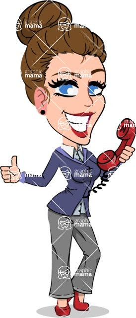 Simple Style cartoon of a Corporate Girl - Holding phone with thumbs up