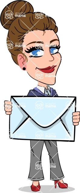 Simple Style cartoon of a Corporate Girl - Holding mail envelope