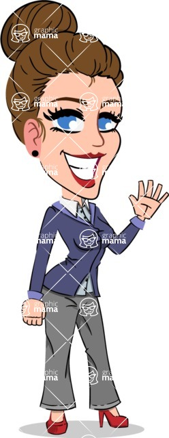 Simple Style cartoon of a Corporate Girl - Waving