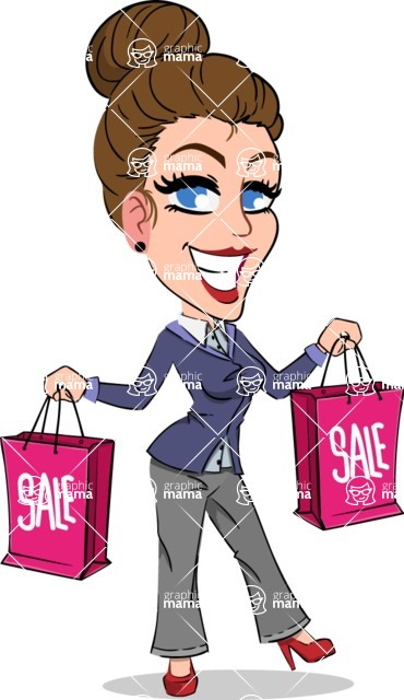 Simple Style cartoon of a Corporate Girl - Holding shopping bags