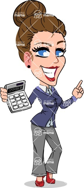 Simple Style cartoon of a Corporate Girl - with Calculator