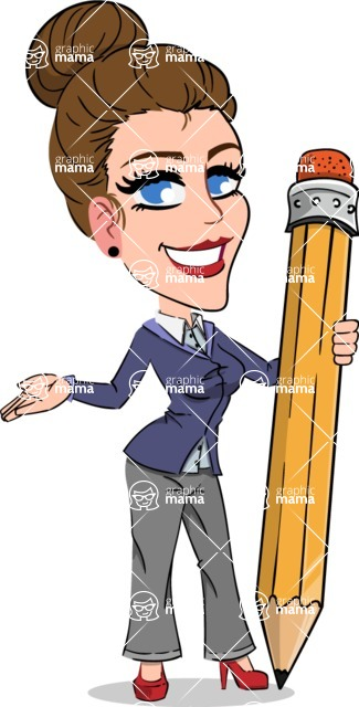 Simple Style cartoon of a Corporate Girl - Holding Pencil