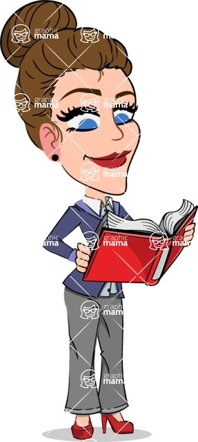 Simple Style cartoon of a Corporate Girl - Reading a book