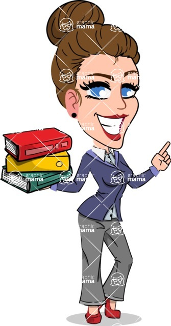 Simple Style cartoon of a Corporate Girl - with Books