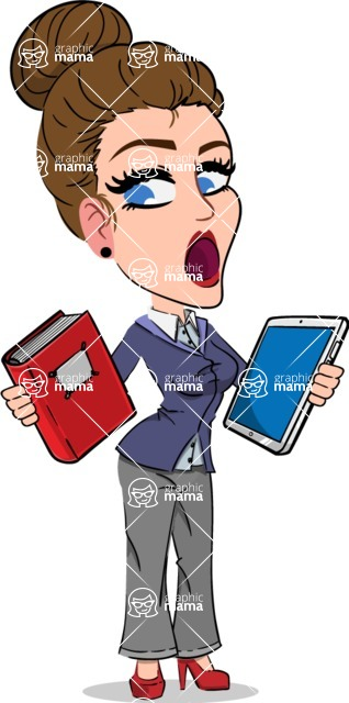 Simple Style cartoon of a Corporate Girl - Choosing between Book and Tablet