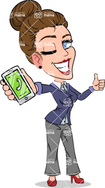 Simple Style cartoon of a Corporate Girl - Holding a smartphone