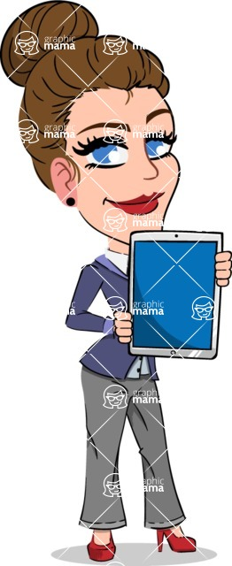 Simple Style cartoon of a Corporate Girl - Holding tablet