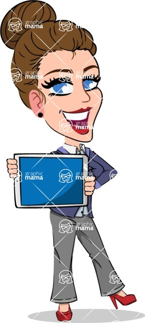 Simple Style cartoon of a Corporate Girl - Showing tablet