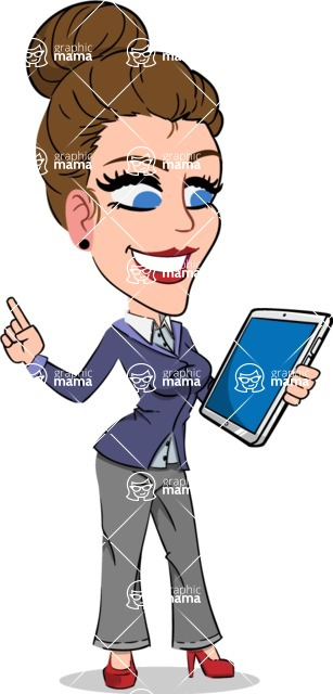 Simple Style cartoon of a Corporate Girl - Holding an iPad