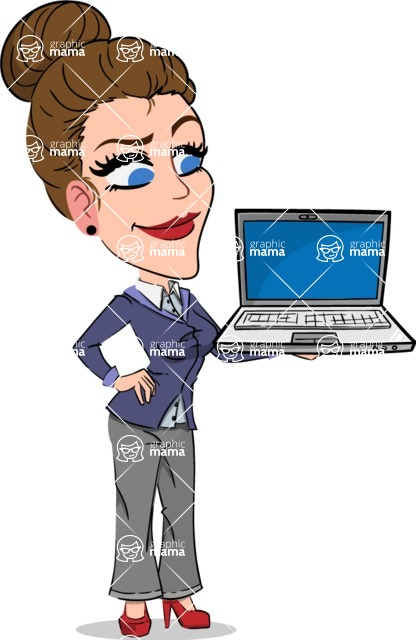 Simple Style cartoon of a Corporate Girl - Presenting on laptop