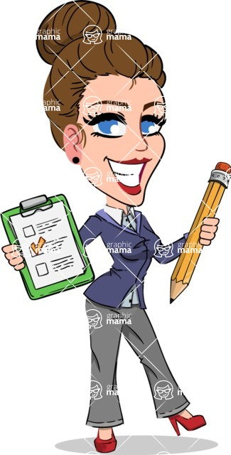 Simple Style cartoon of a Corporate Girl - Holding a notepad with pencil