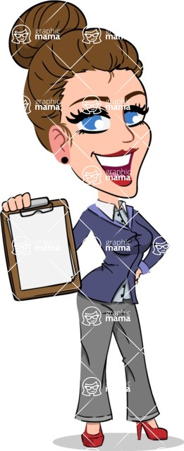Simple Style cartoon of a Corporate Girl - Smiling and holding notepad