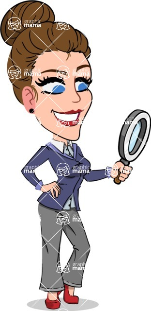 Simple Style cartoon of a Corporate Girl - Searching with magnifying glass