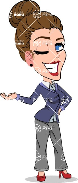 Simple Style cartoon of a Corporate Girl - Showing with left hand