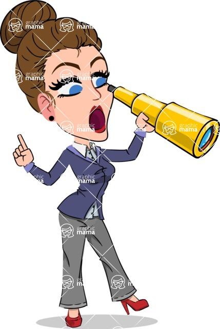 Simple Style cartoon of a Corporate Girl - Looking through telescope