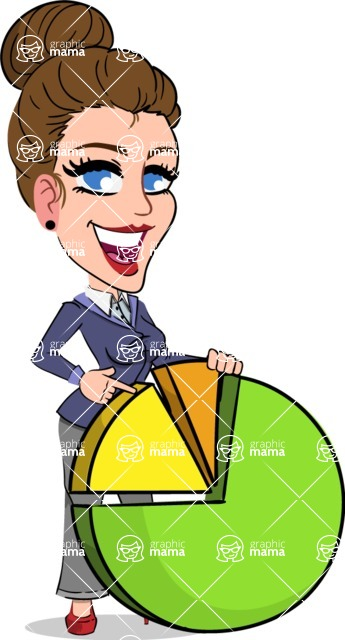 Simple Style cartoon of a Corporate Girl - with Business graph