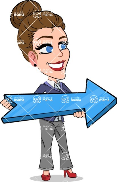 Simple Style cartoon of a Corporate Girl - with Positive arrow