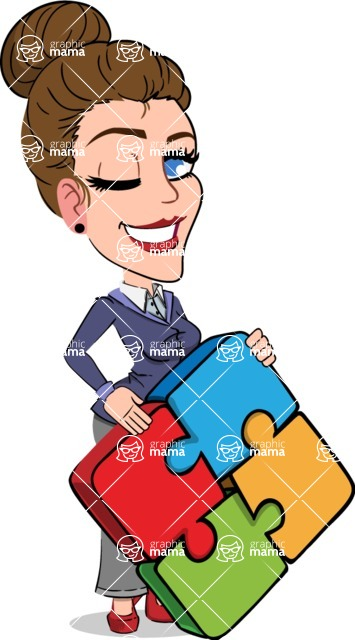 Simple Style cartoon of a Corporate Girl - with Puzzle