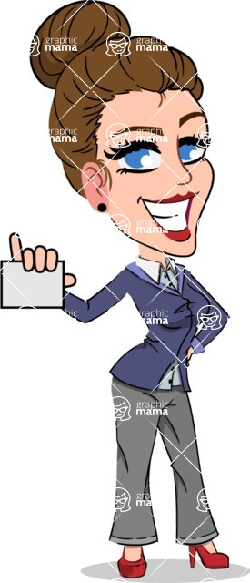 Simple Style cartoon of a Corporate Girl - with a Blank Business card