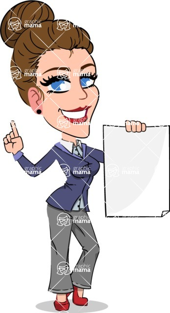 Simple Style cartoon of a Corporate Girl - with a Blank paper