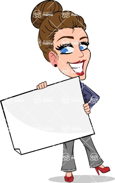 Simple Style cartoon of a Corporate Girl - Holding a Blank banner