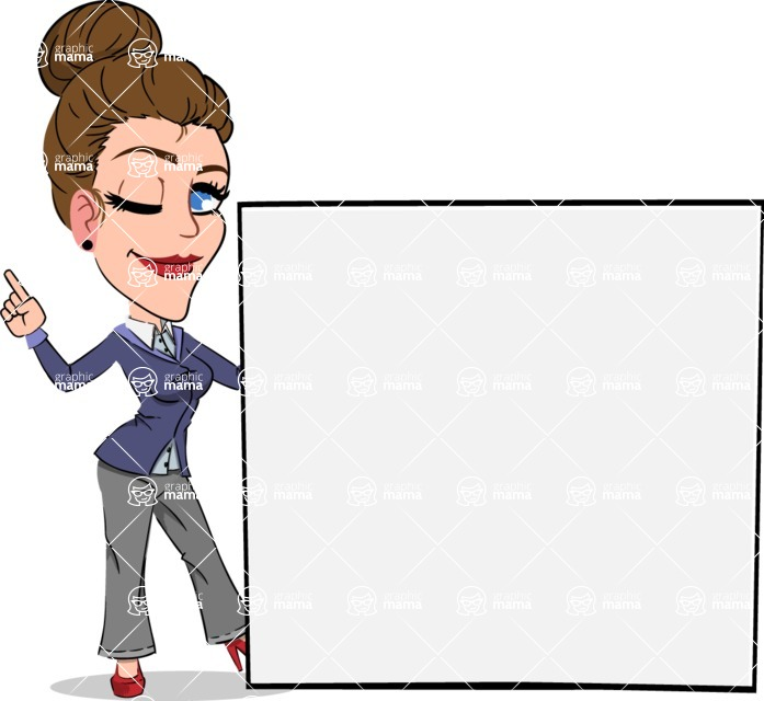 Simple Style cartoon of a Corporate Girl - Holding a Blank sign and Pointing