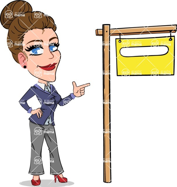 Simple Style cartoon of a Corporate Girl - with Blank Real estate sign