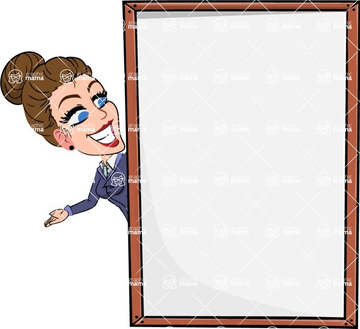 Simple Style cartoon of a Corporate Girl - Making peace sign with Big Presentation board