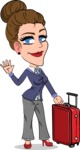Simple Style cartoon of a Corporate Girl - with Suitcase