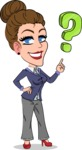 Simple Style cartoon of a Corporate Girl - with Question mark