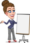 Simple Style cartoon of a Corporate Girl - with a Blank Presentation board