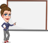 Simple Style cartoon of a Corporate Girl - Making a Presentation on a Blank white board