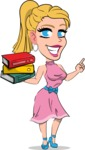 Simple Style Cartoon of a Blonde Girl Vector Cartoon Character - with Books