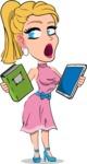 Simple Style Cartoon of a Blonde Girl Vector Cartoon Character - Choosing between Book and Tablet