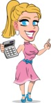 Simple Style Cartoon of a Blonde Girl Vector Cartoon Character - with Calculator