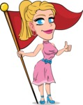 Simple Style Cartoon of a Blonde Girl Vector Cartoon Character - with Flag