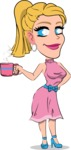Simple Style Cartoon of a Blonde Girl Vector Cartoon Character - Drinking Coffee