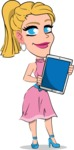 Simple Style Cartoon of a Blonde Girl Vector Cartoon Character - Holding tablet