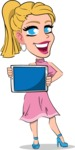 Simple Style Cartoon of a Blonde Girl Vector Cartoon Character - Showing tablet