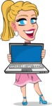 Simple Style Cartoon of a Blonde Girl Vector Cartoon Character - Showing a laptop