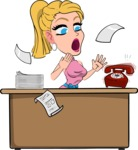 Simple Style Cartoon of a Blonde Girl Vector Cartoon Character - Stressed out