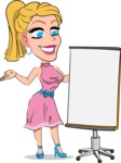 Simple Style Cartoon of a Blonde Girl Vector Cartoon Character - with a Blank Presentation board
