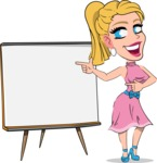 Simple Style Cartoon of a Blonde Girl Vector Cartoon Character - Pointing on a Blank whiteboard